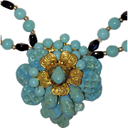 Vintage Miriam Haskell Aqua Glass Necklace