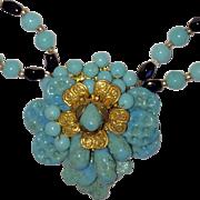 Vintage Miriam Haskell Aqua Glass Necklace