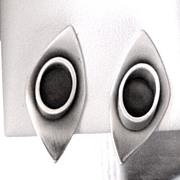 Modern Silver Sterling Handwrought Earrings
