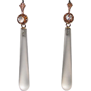 14K Moonstone and Rock Crystal Drop Earrings