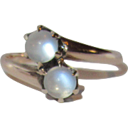 "Victorian ""Toi et Moi"" Double Moonstone 10K Gold by Ostby & Barton"