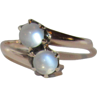 Victorian Double Moonstone 10K Gold by Ostby & Barton