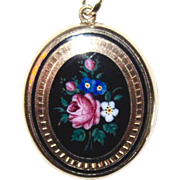 Victorian Swiss Enamel Floral Locket Mourning