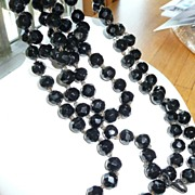 Victorian Black  Muff Chain 80 Inches