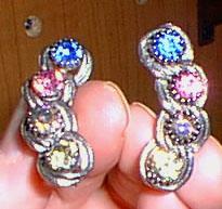 Chain Choker Silvertone with Multi-colored Rhinestones