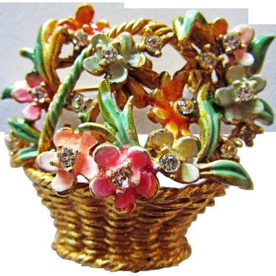 My Fair Lady BSK Basket of Flowers Brooch