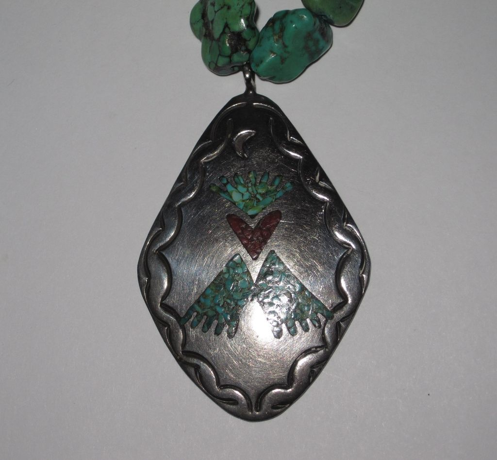 Vintage Native American Turquoise Silver Pendant