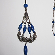 Sale 1920s Sautoir Necklace Blue Glass
