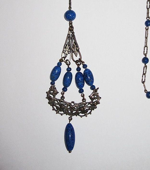 Sale 1920s Sautoir Necklace Blue Glass