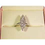Art Deco 14K Pave Diamond Navette Shaped Ring