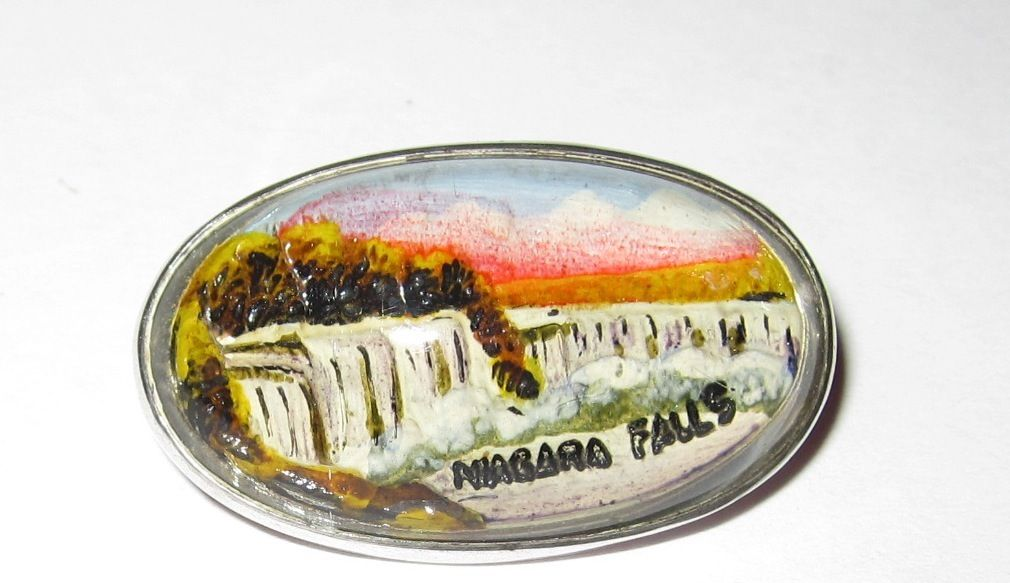 Vintage Niagara Falls Reverse Painted Crystal Sterling Pin