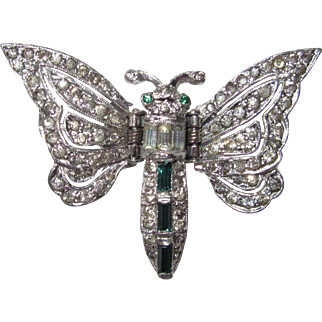 Art Deco Paste Butterfly Clip Pin