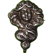 Art Nouveau Sterling Front Watch Pin Lady