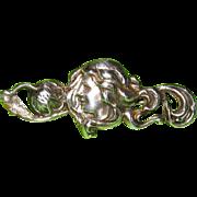 Art Nouveau Brooch Sterling Top Lady