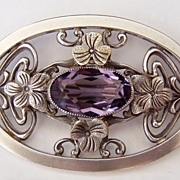 Large Art Nouveau Design Brooch Purple Crystal Flowers