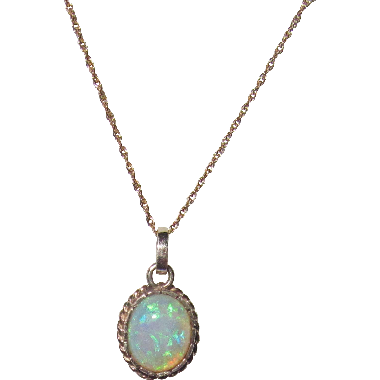 14k gold opal pendant necklace from phalan on ruby
