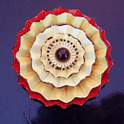 Vintage Enamel Orange Yellow Brooch Flower