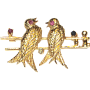 Love Birds on a Wire 18K Yellow Gold Brooch Gemstones