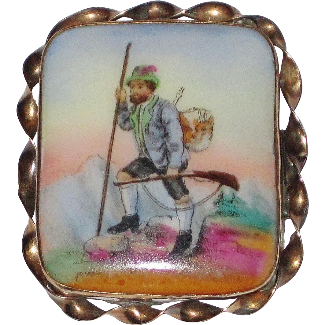 Victorian Painted Porcelain Brooch Hunter Scene
