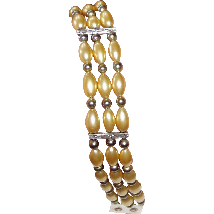 Art Deco Bracelet Faux Pearls