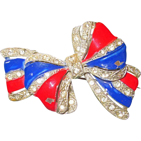Patriotic Vintage Bow Brooch