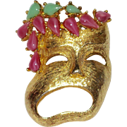 Outrageous Pauline Rader Mask Brooch Pink Green Rhinestones
