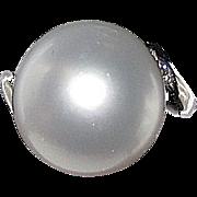 Sale Estate South Sea White Pearl 12mm Round Platinum Ring