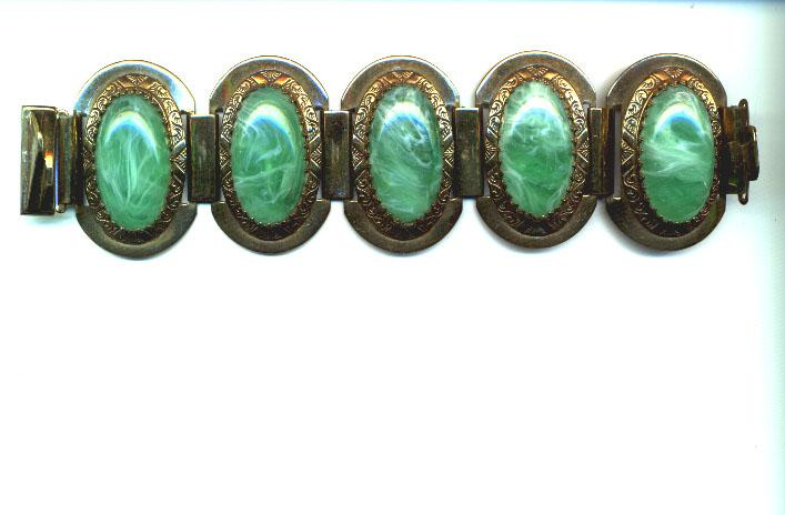 Green Glass and Brass 1930's Chunky Bracelet