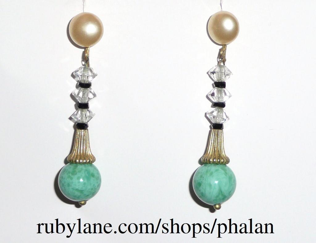 Art Deco Peking Glass Earrings Screwback