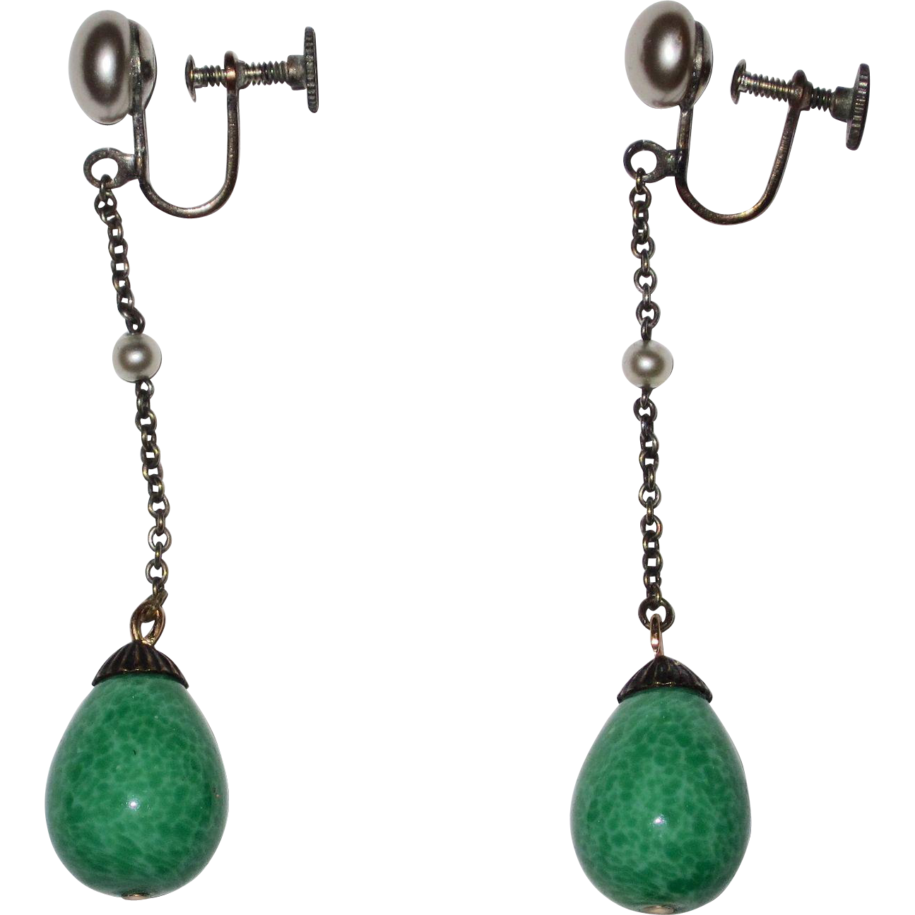 Long Deco Peking Glass Drop Earrings
