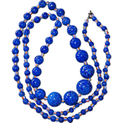 Long Art Deco Peking Glass Blue Beads