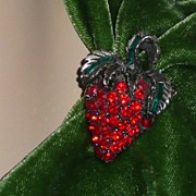 Vintage Strawberry Pin and Matching Clip Earrings