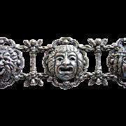 Peruzzi Boston Sterling Grotesque Roman Masks Bracelet