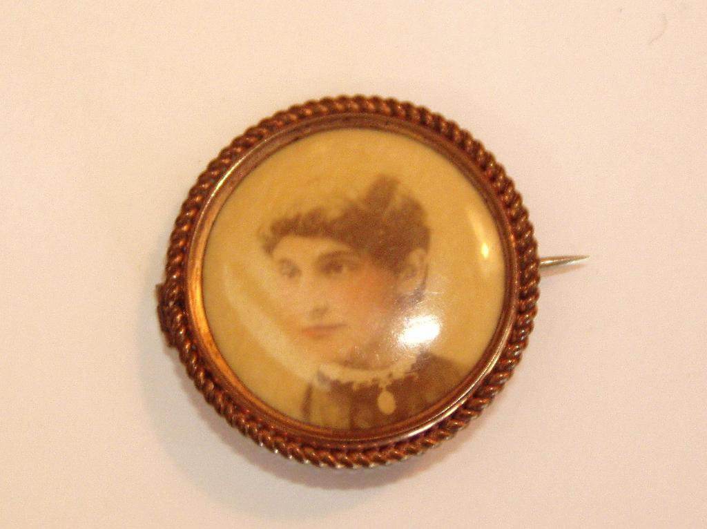 Painted Photograph Victorian Pin