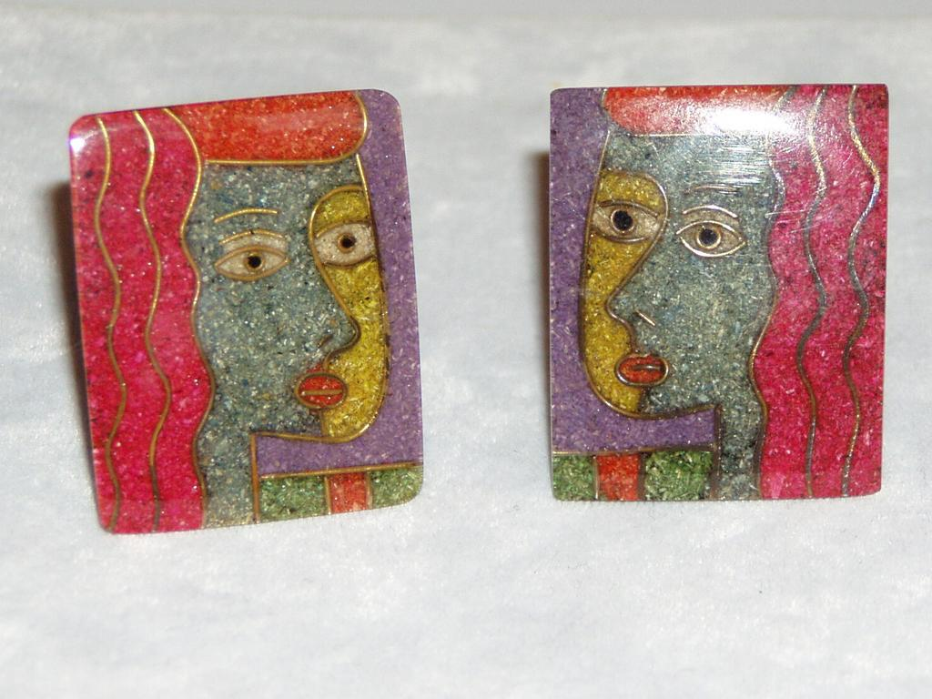 Vintage Artist Clip Earrings Faces