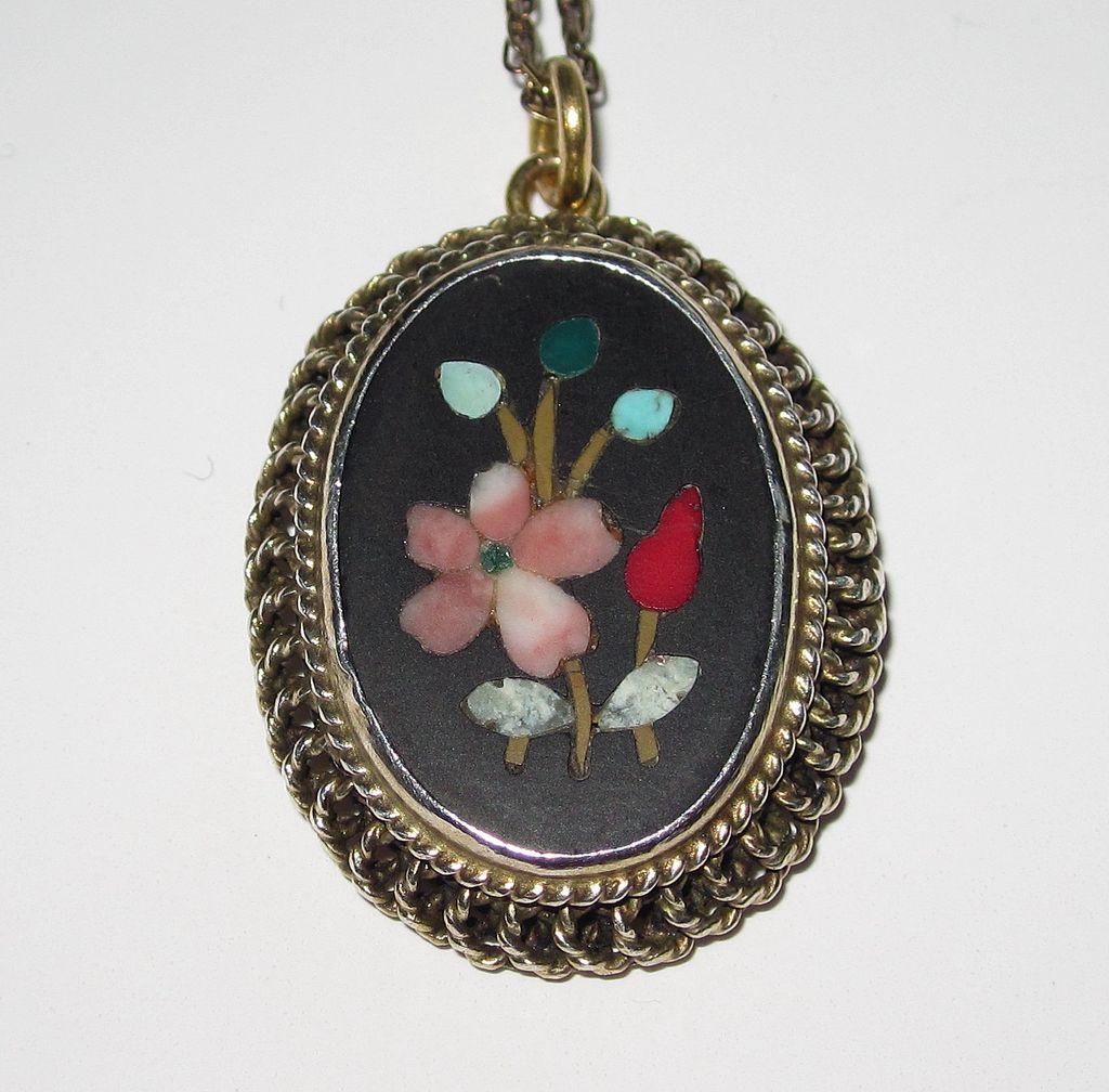 Vintage Pietra Dura Pendant