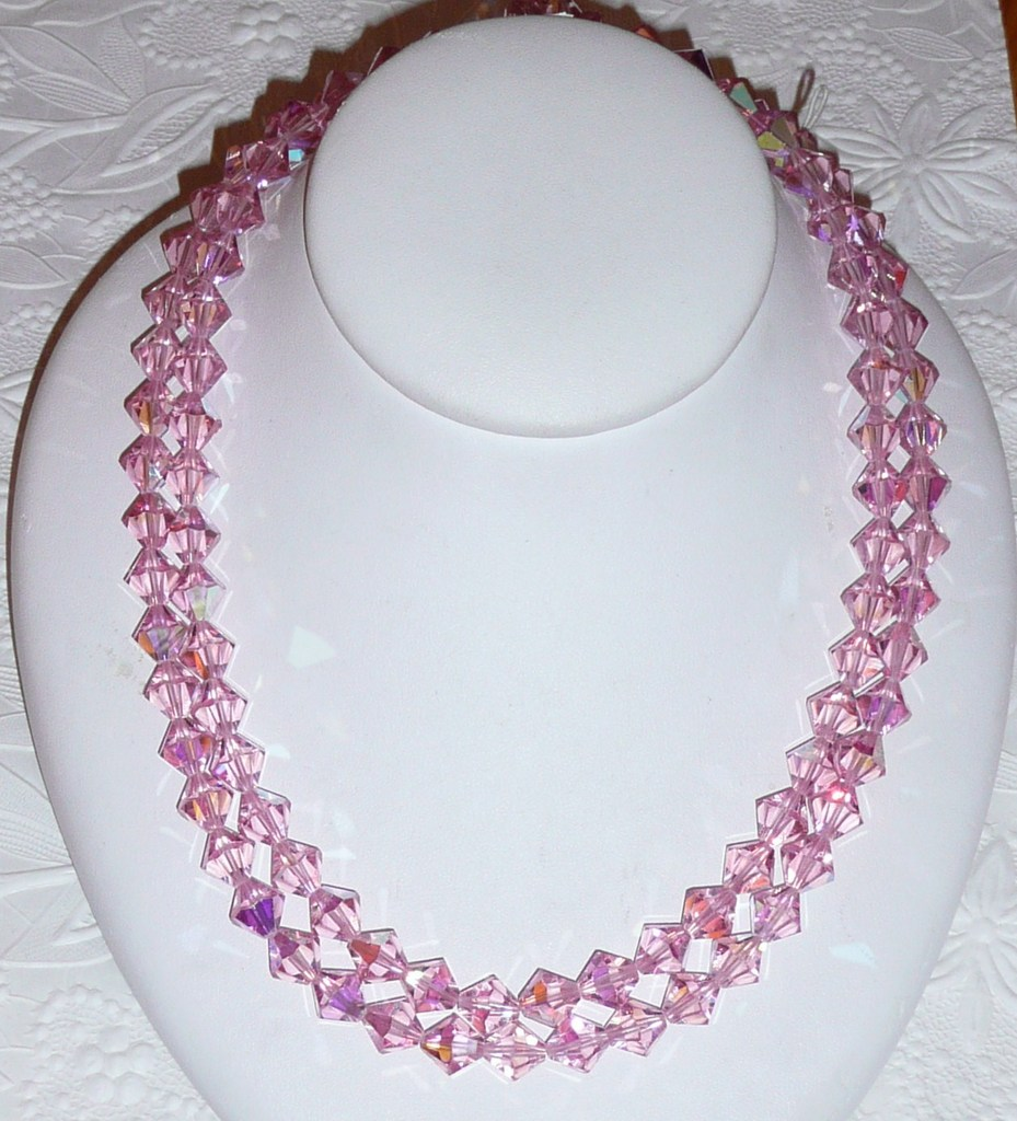 Best Vintage Pink Crystal Beads Necklace