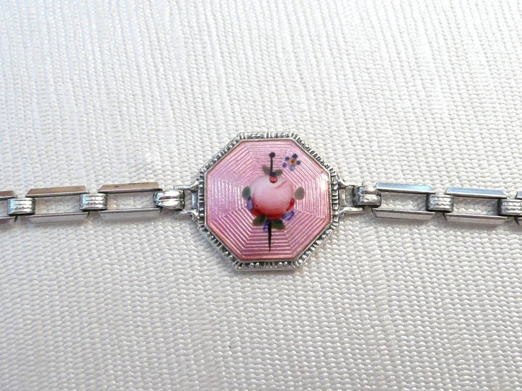Vintage Sterling Pink Guilloche Enamel Bracelet