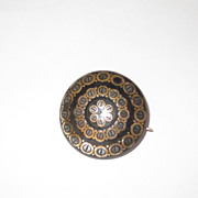Superb Victorian Antique Pique Brooch Gold and Silver Inlay