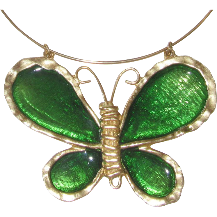 Polcini 1970s Huge Poured Glass Butterfly Pendant