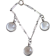 1940s Pools of Light Charm Bracelet 3 Charms