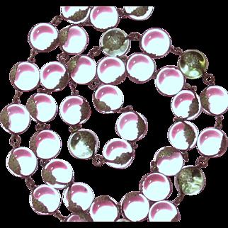 Amazing Art Deco Pools Of Light Rock Crystal Opera Length Necklace