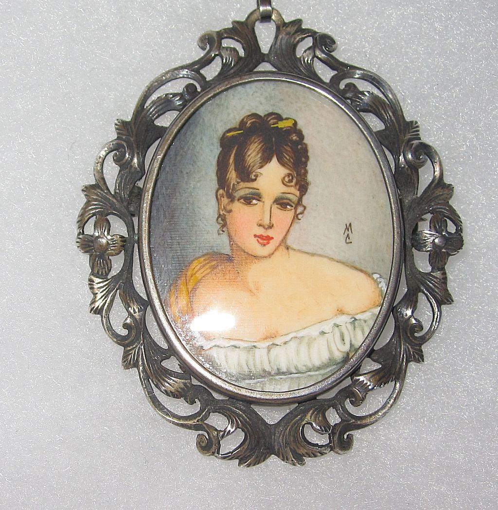 Vintage Silver Painted Portrait Brooch Pendant