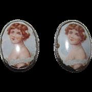 Adorable Vintage Portrait Earrings Screw Back