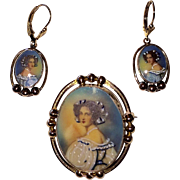 Vintage Set Painted Portrait Brooch and Earrings Gold Filled
