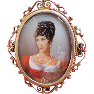 Vintage Painted Portrait Miniature Brooch or Pendant 935 Silver Frame