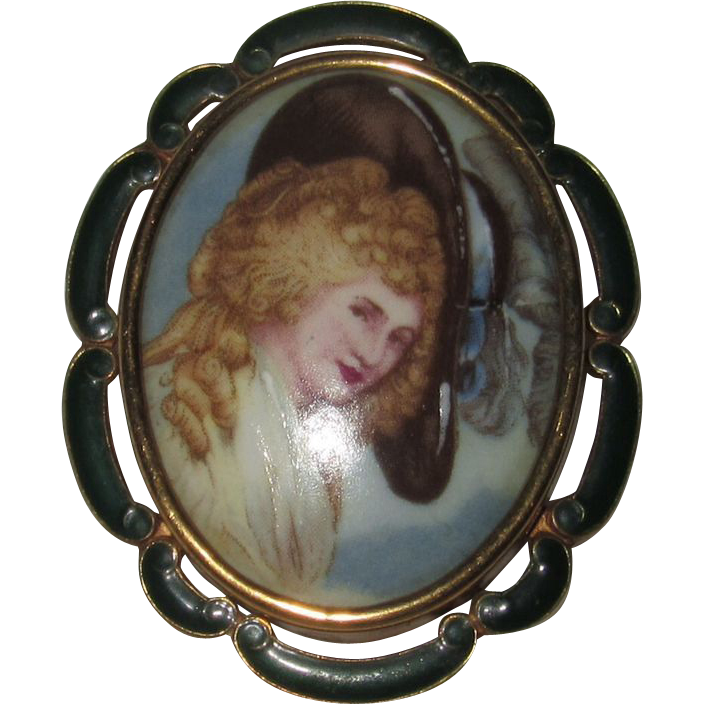 Art Deco Thomas L Mott Portrait of a Lady Brooch Green Enamel Frame