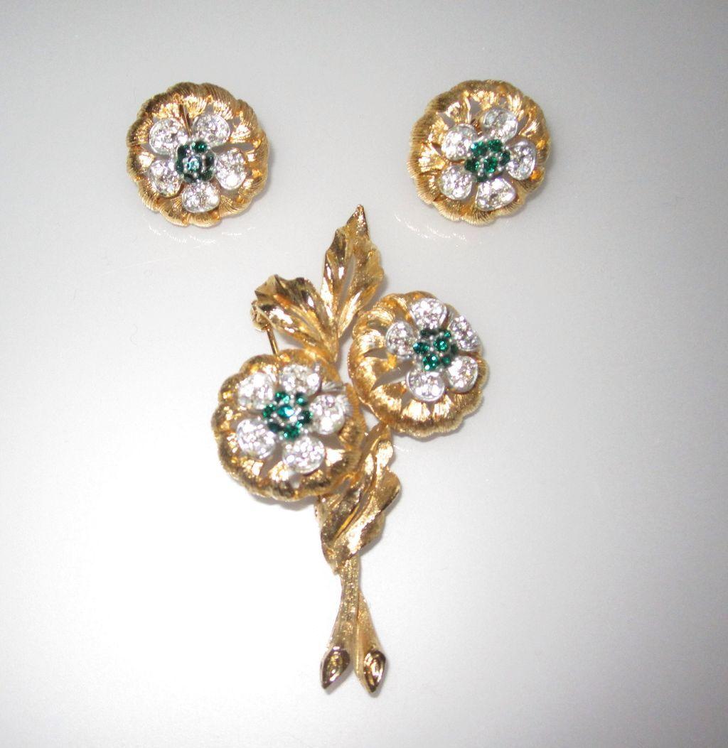Vintage Flower Brooch And Earrings From Phalan On Ruby Lane