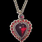 Victorian Puffy Garnet Heart Charm Gorgeous