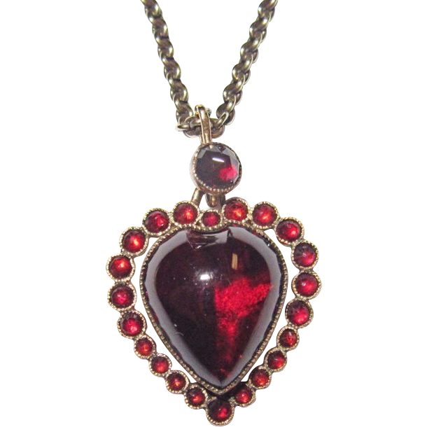 Victorian Puffy Garnet Heart Charm Gorgeous